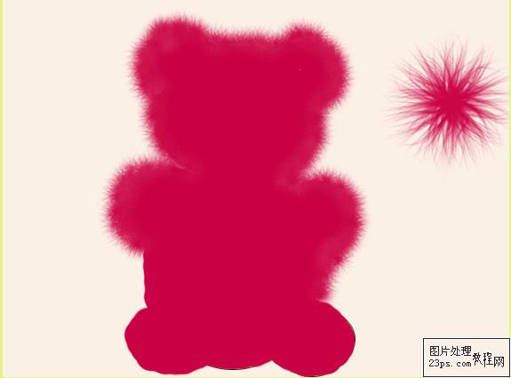 """第四步用""""刺毛球""""笔刷刷出熊毛茸茸的感觉,笔刷大小自定。注意毛与身体的连贯性,还有就是不要刷完了连熊的基本形状也没有了。  第五步我们来做熊的面部。用""""椭圆选框工具""""按第二步里面的样子在面部圈出一个椭圆的形状并填充参数为:F2CDAF,同样用""""刺毛球""""笔刷刷出毛茸茸的感觉。  用椭圆选框工具画圆,点右键填充已经设定的前景色:F2CDAF  前景色参数:F2CDAF 点击确认。  用刺毛球笔刷刷出嘴吧的样子 下面身体的部分参数都是一样的 手 脚 肚子都是和这一样的做法  画眼睛和鼻子的"""